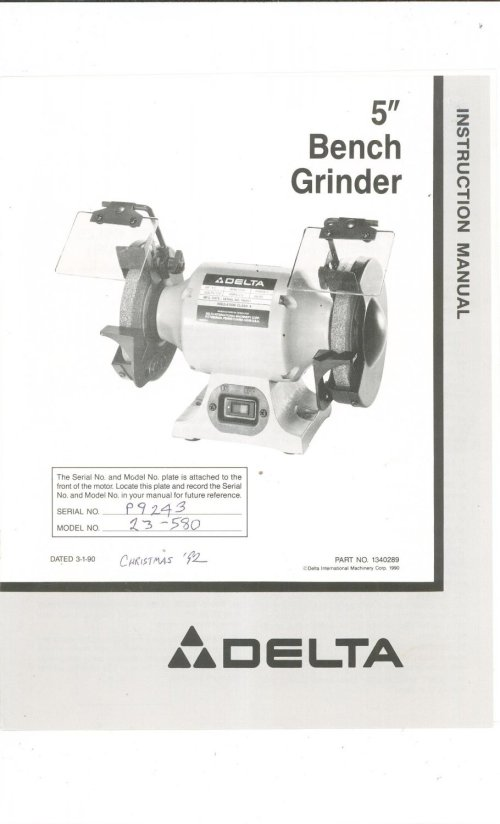 small resolution of delta 5 bench grinder model 23 580 owners manual with parts list