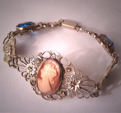 Antique Cameo Bracelet Vintage Filigree Victorian Deco