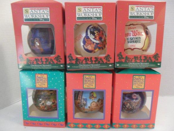 Lot Of 7 Disney Holiday Ornaments Santa Work & ' Small World 1994