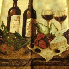 Fruit Kitchen Curtains Update Cost Estimate Tuscan Wine Bottles Glasses Vino Set