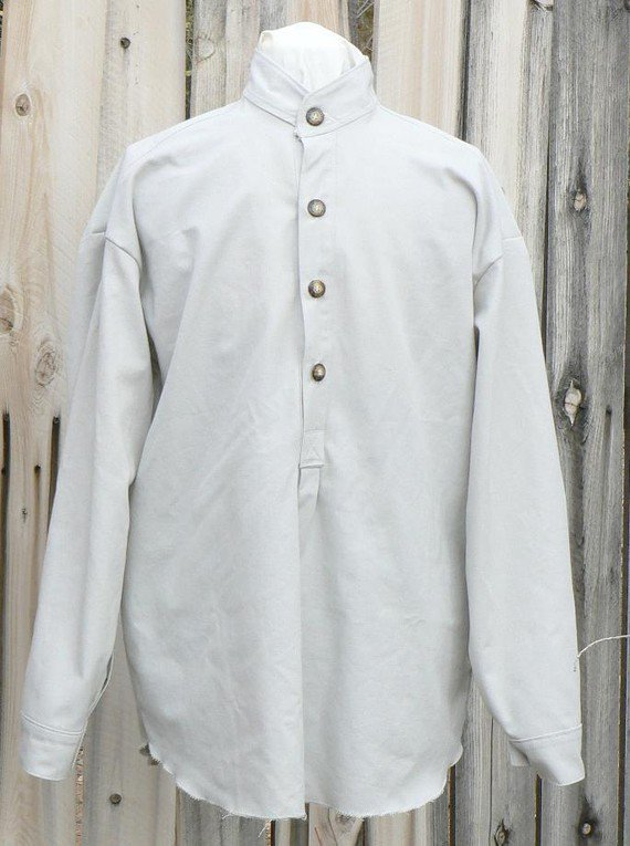 Victorian Old West Cowboy Shirt Western Cotton Band Collar