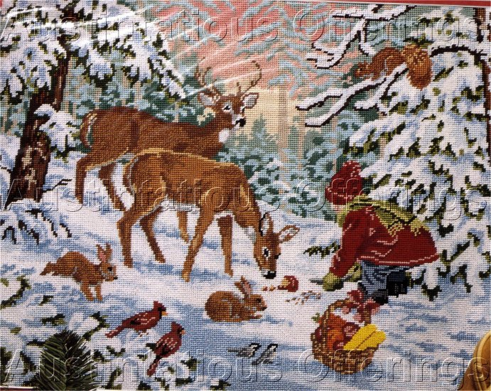 RARE WINTER SLOANE WOODLAND ANIMALS NEEDLEPOINT KIT