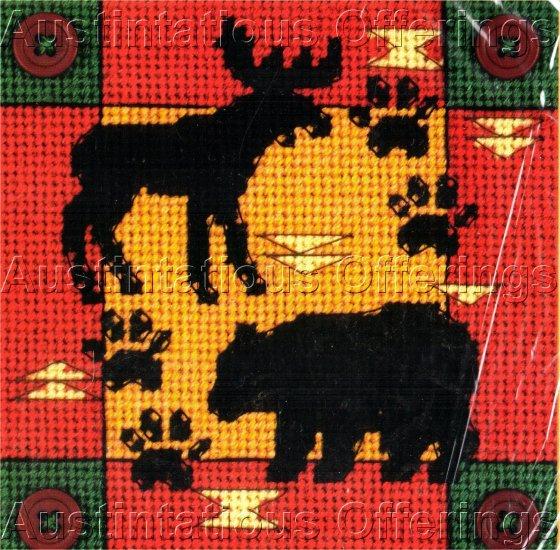 MOOSE AND BEAR ANIMAL PRINT RUSTIC NEEDLEPOINT KIT