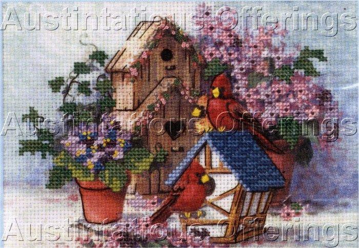 BARBARA MOCK BIRD HOUSE CARDINAL FLOWER EMBELLISHED CROSS STITCH KIT