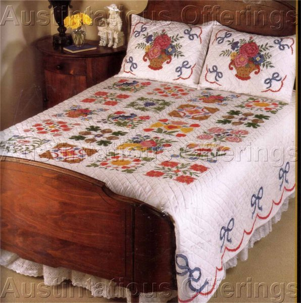 STAMPED CROSS STITCH BALTIMORE ALBUM FULL  QUEEN SIZE QUILT