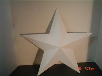WOODEN 3D BARN STAR 15 INCH  PRIMED AND READY TO PAINT