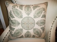 High End Moroccan Paisley Linen Accent Pillow