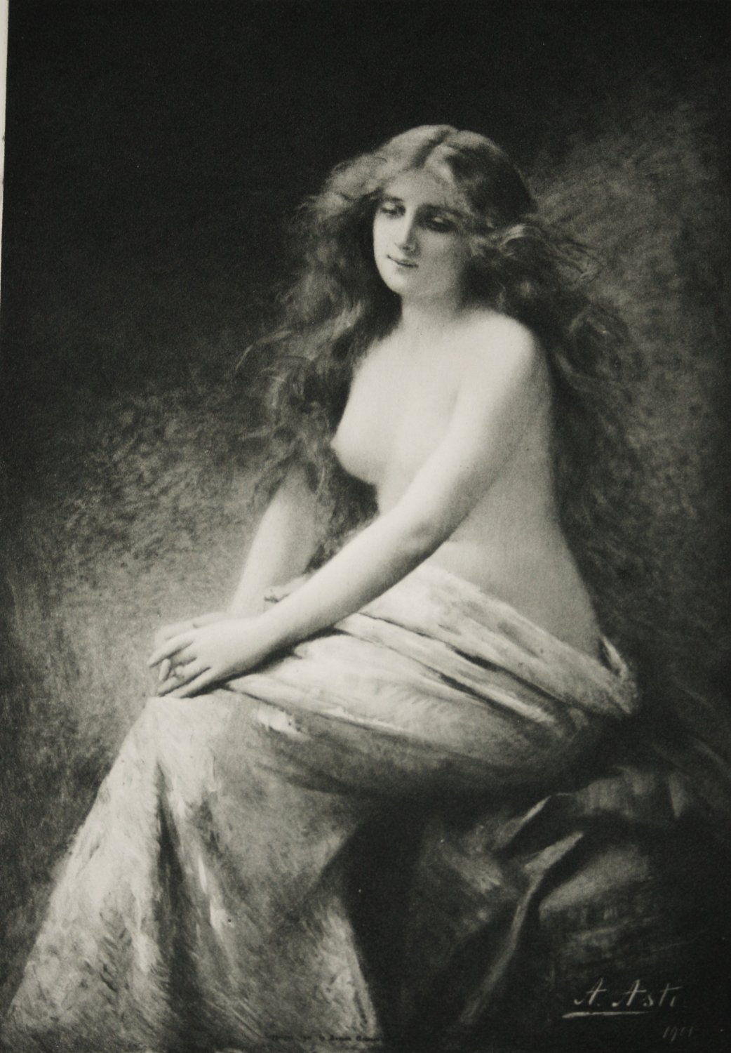 Antique French Print 1901 Nude Young Lady Solitude by