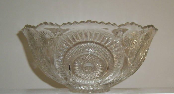 Vintage EAPG US Glass Slewed Horseshoe Flared Punch Bowl