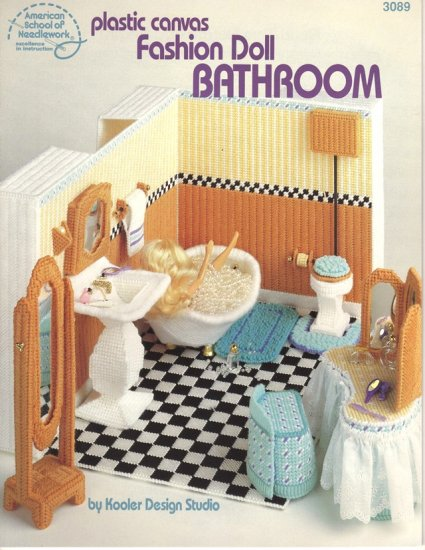 Barbie Fashion Doll Bathroom Plastic Canvas Pattern Book NEW