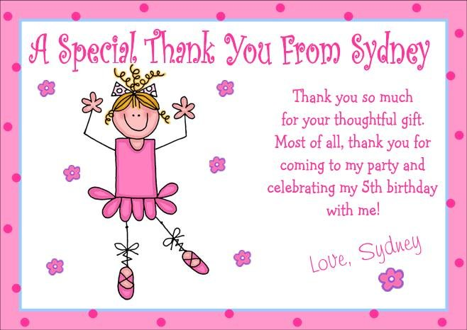12 BALLET BIRTHDAY THANK YOU CARDS Personalized Party
