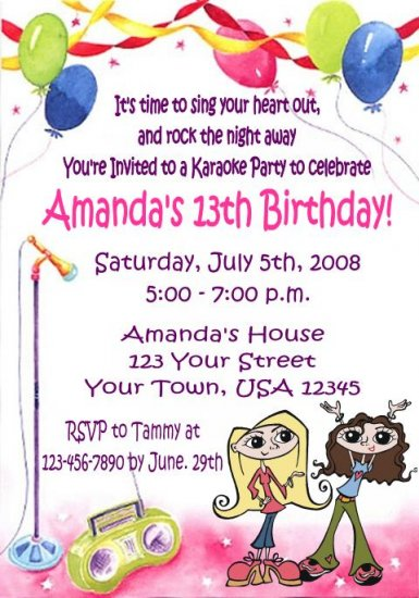 12 KARAOKE SINGING Invitations Personalized Party Custom