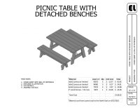 6' Picnic Table and Benches Building Plans Blueprints DIY ...