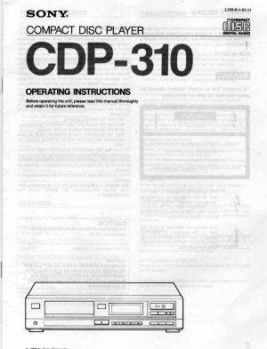 SONY CDP-310 CD PLAYER OWNER'S MANUAL *NEW*