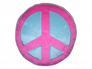 Peace Sign Plush Pillow  PinkBlue