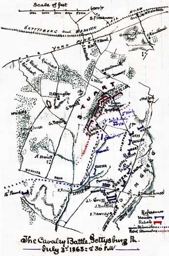 Cavalry Battle Gettysburg Pennsylvania Civil War map by Sneden