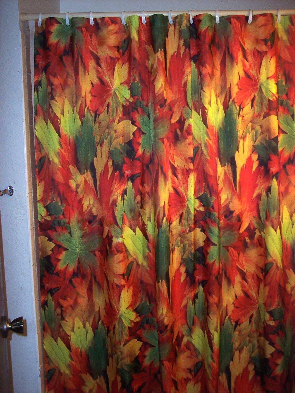 Colorful AUTUMN LEAVES Bathroom Shower Curtain CT