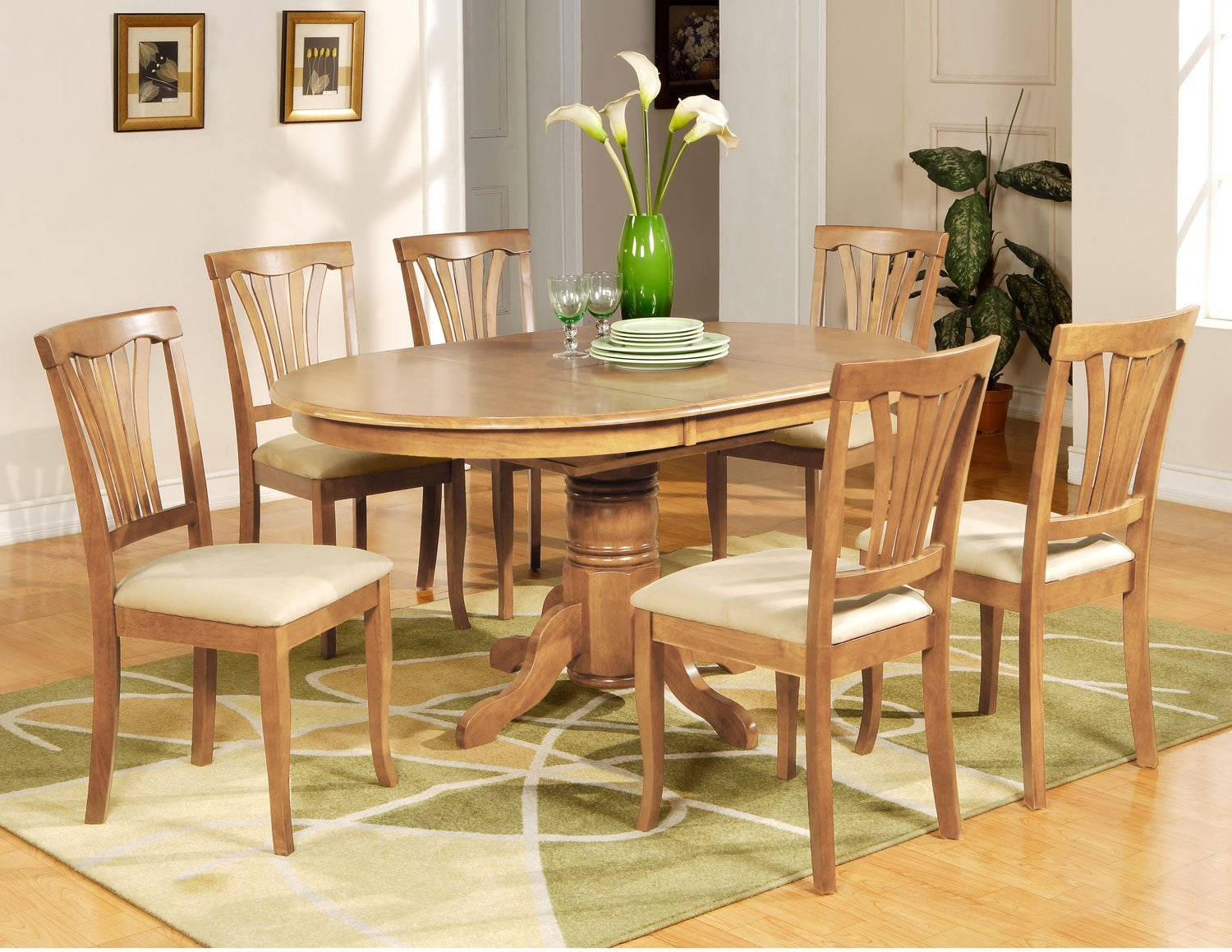 kitchen table and 6 chairs uk folding chair with umbrella holder 7 pc avon oval dining 43 microfiber upholstered