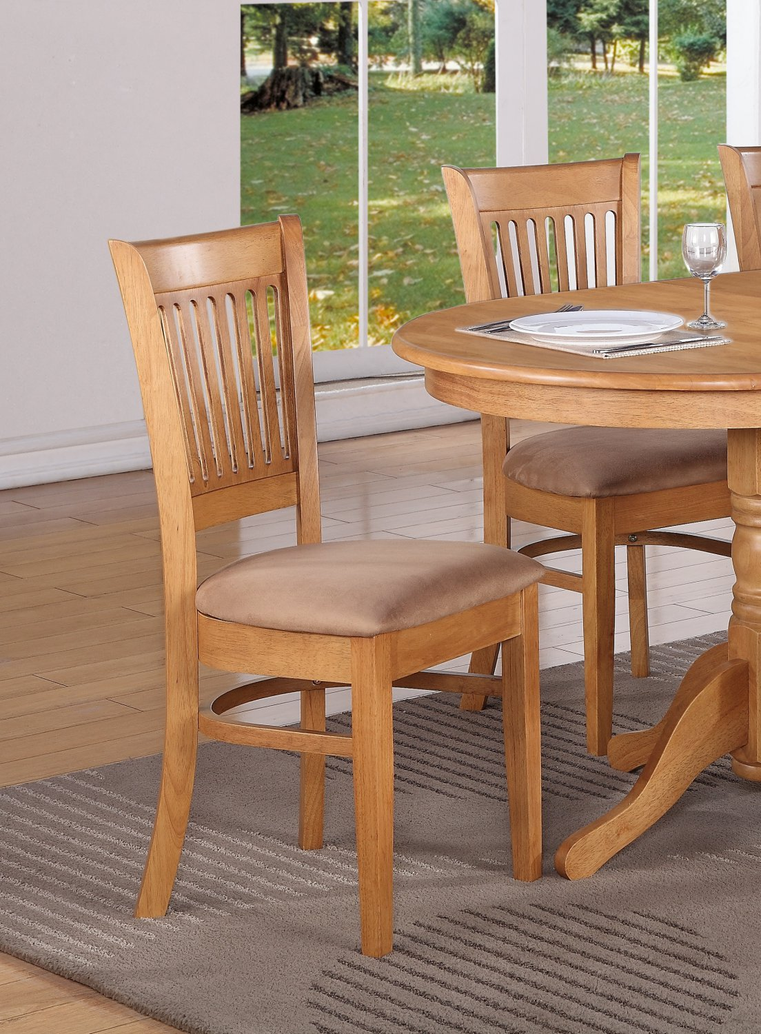 oak kitchen chairs aluminum bistro table and set of 6 dinette dining w microfiber