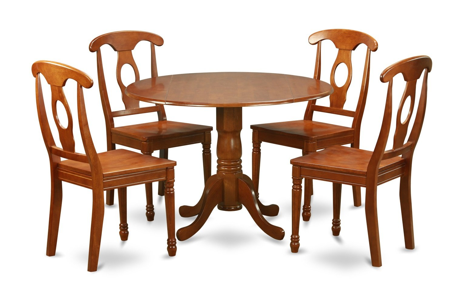 dining table and chairs dublin geri chair recliner cushion geo wave 5pc round w 2 drop leaves 434 napoleon wood