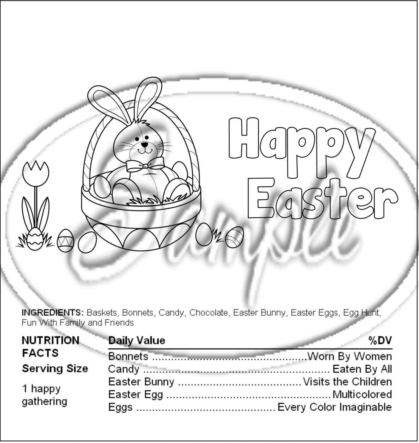 Color Me Easter #1 Nutritional Facts ~ Standard 1.55 oz