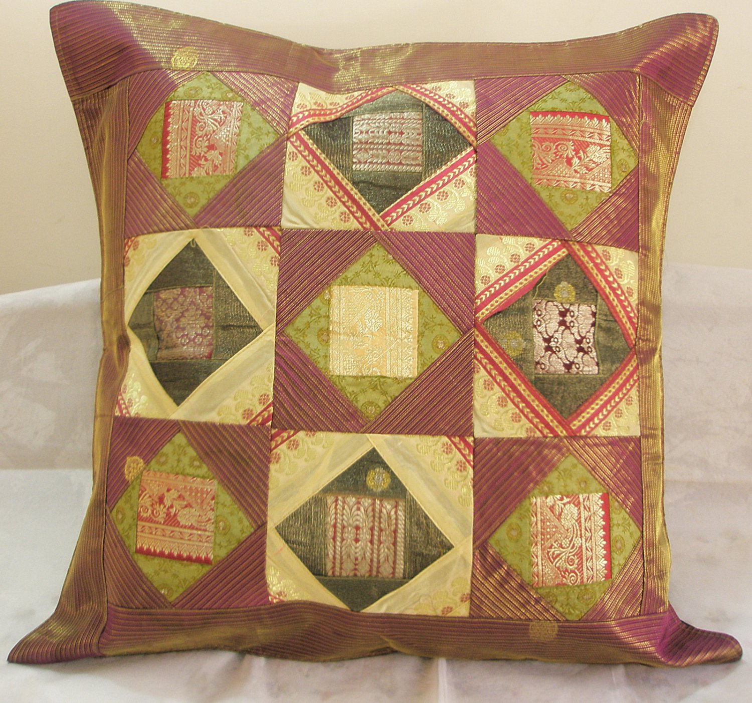 extra large sofa cushion covers bed vancouver canada 24 inch ethnic patchwork indian pillow