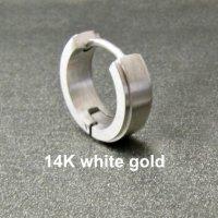 Mens earring, solid white gold huggie hoop earring, 14K ...