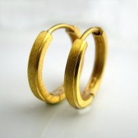 Men's large gold hoop earrings, E004MY