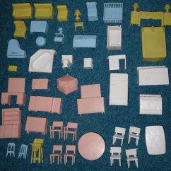 Retro Kitchen Table And Chairs Set Electrolux Appliances Superior Dollhouse Furniture 44 Doll House Pieces Vintage ...
