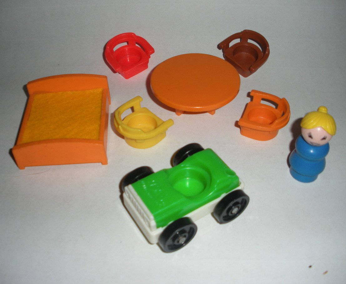 fisher price kids table and chairs office chair on carpet little people furniture bed car