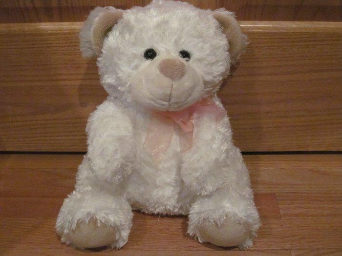 Kmart Plush 15 Inch White Plush Teddy Bear Tan Ears Pink