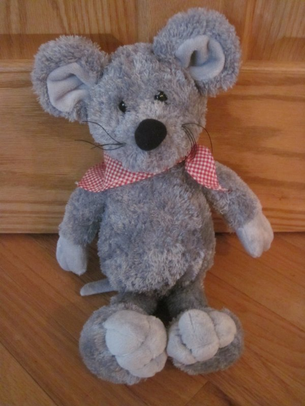 Sugar Loaf Plush Gray Mouse Wearing Red And White Gingham