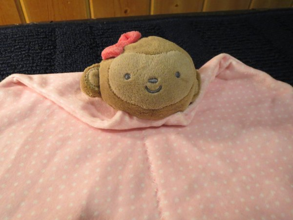 Child Of Monkey Pink Security Blanket With Stars