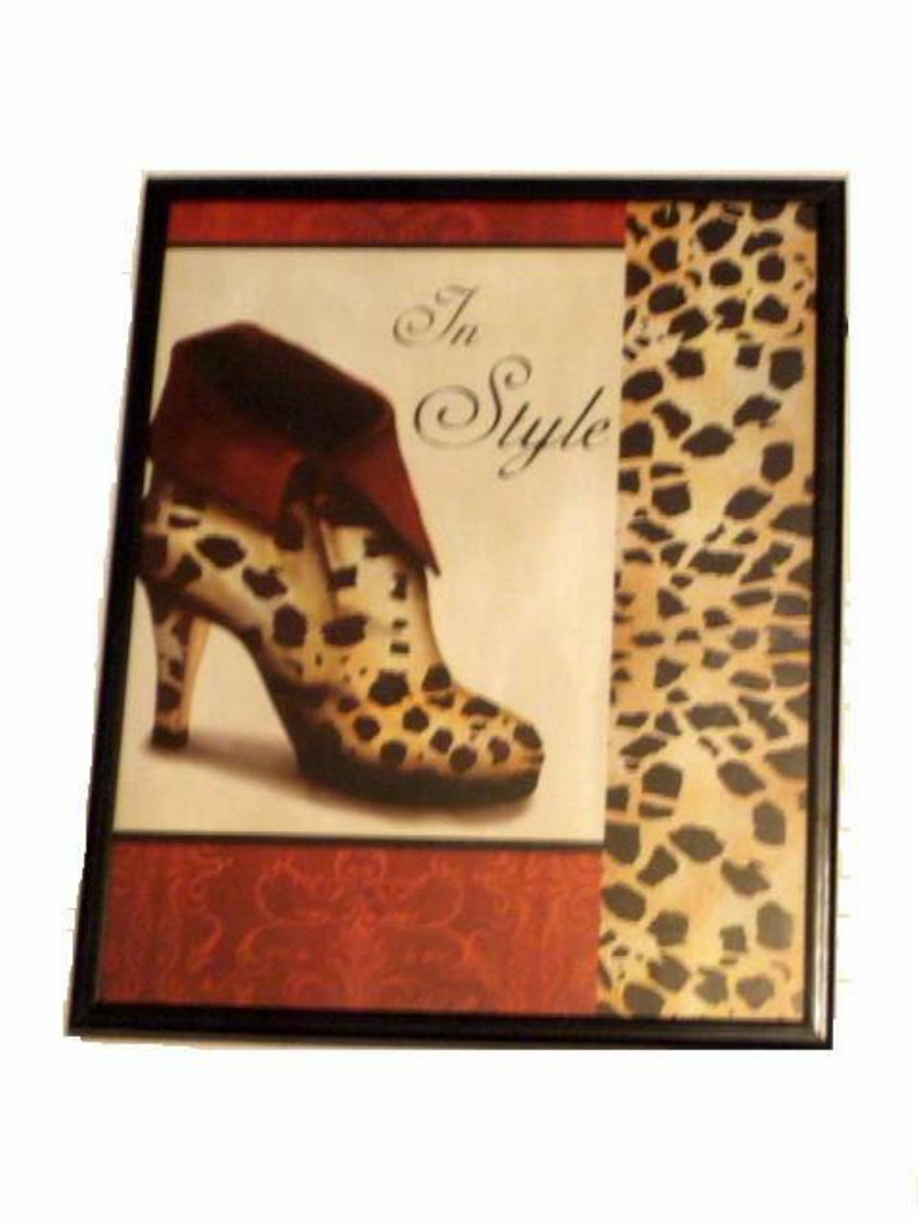 apple kitchen rugs unfinished base cabinets leopard print shoe framed wall decor