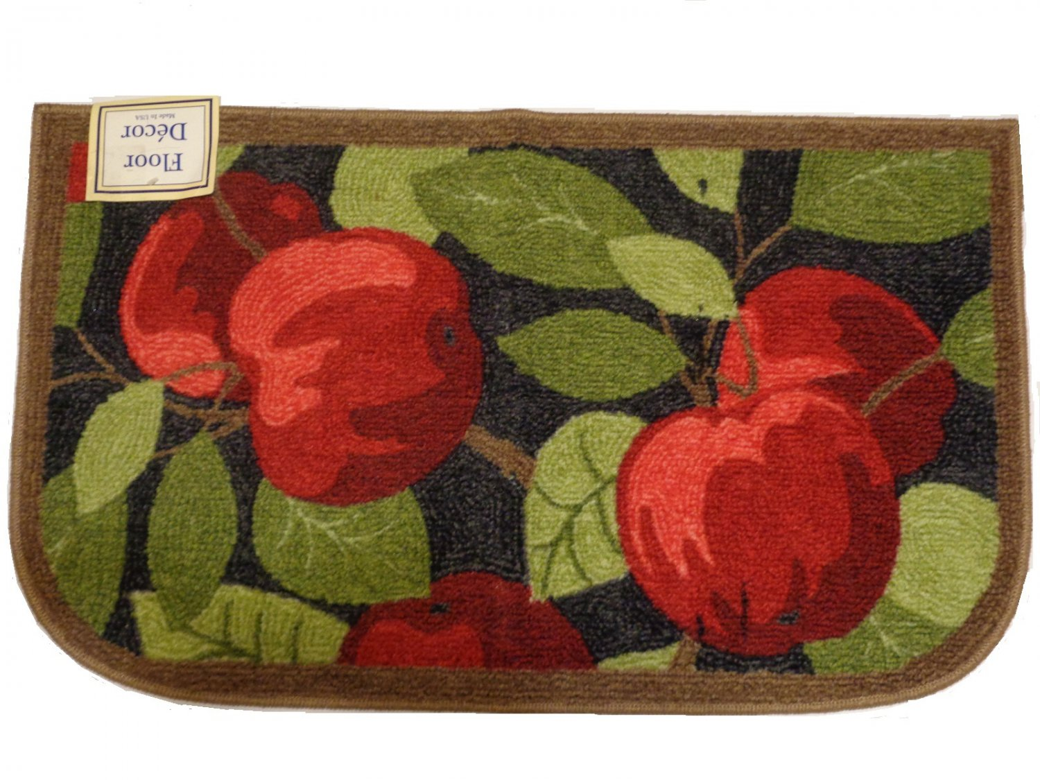 apple kitchen rugs samsung appliance packages red apples rug leaves mat