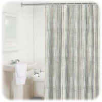 NEW! BAMBOO STRIPE Light Blue/White/Gray Shower Curtain