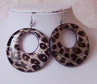 Chunky Black Animal Print Leopard Cheetah Hoop Earrings