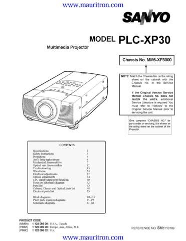 SANYO PLC-XP30 Service Manual with Schematics Circuits on