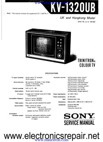 SONY KV1320UB Service Manual with Schematics Circuits on