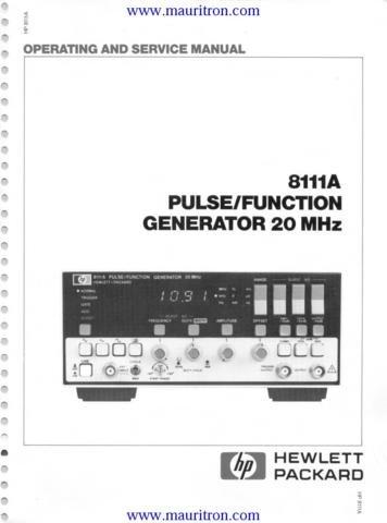 HEWLETT PACKARD 8111A Service Manual with Schematics