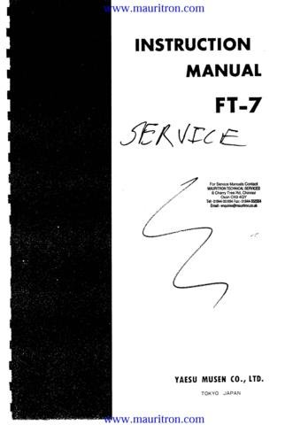 YAESU FT-7 FT7 Service Manual with Schematics Circuits on