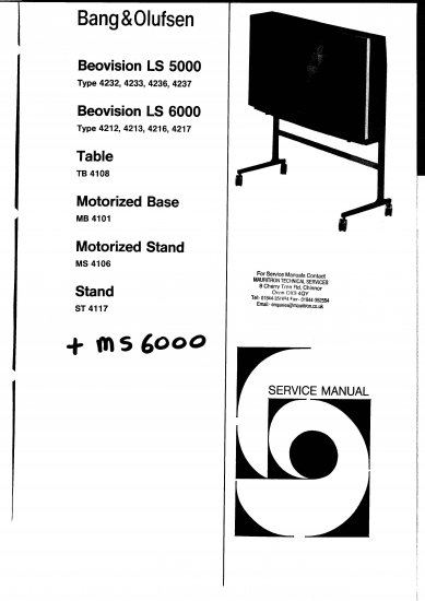 BANG AND OLUFSEN 6000 RANGE B&O Service Manual with