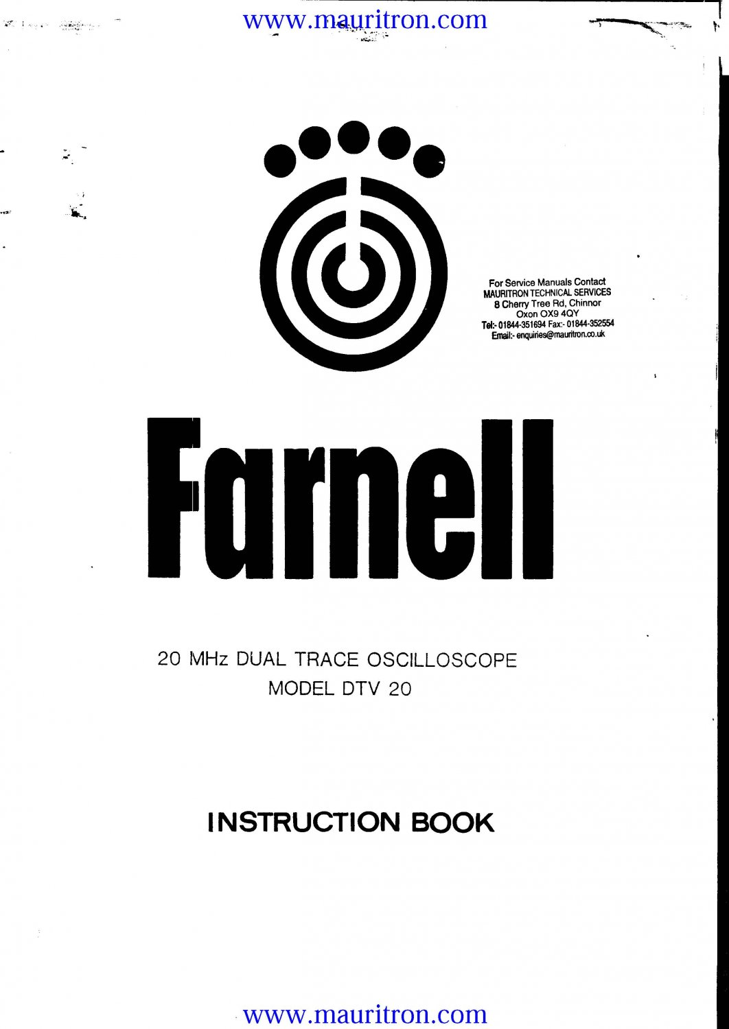 Farnell DT20 Service Manual. From Mauritron
