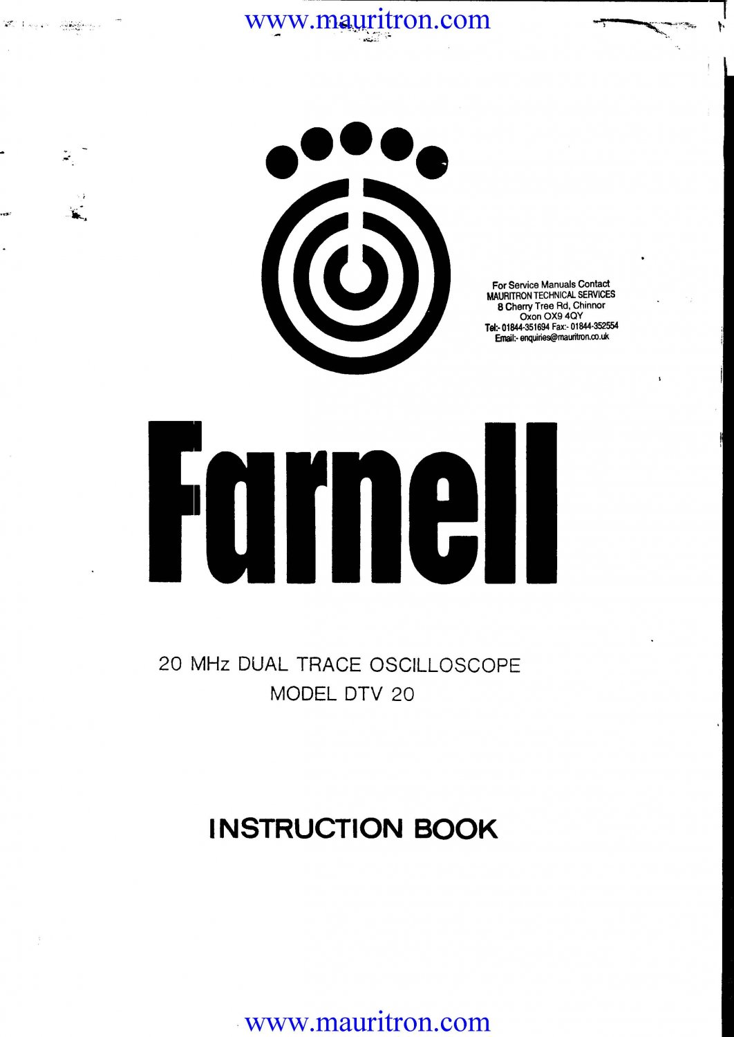 Farnell DTV20 Service Manual. From Mauritron