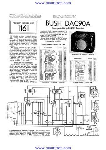 Bush DAC90A Vintage Service Circuit Schematics mts#75