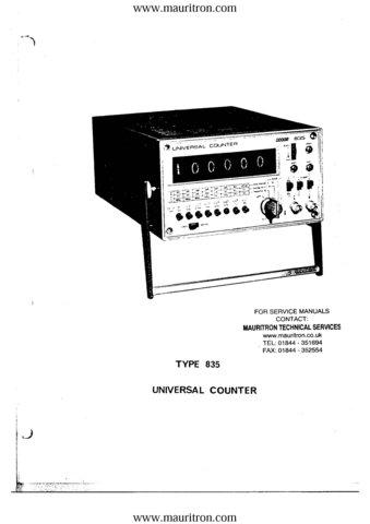 Racal 835 Service Manual. Mauritron#337