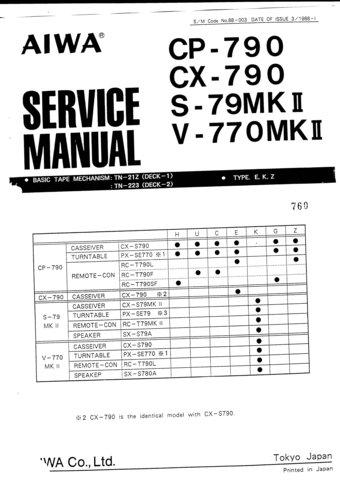Aiwa CX-790 Service Manual. Mauritron #1122