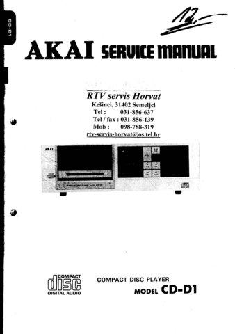 Akai CDD1 Service Manual. Mauritron #1565