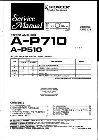Pioneer AP510 Service Manual. Mauritron #1675