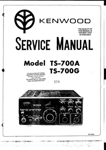 Kenwood TS700G Service Manual Mauritron #2543